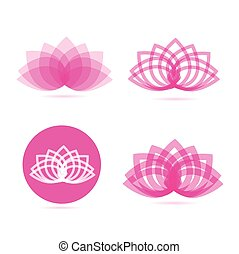 Lotus meditation flower logo pink