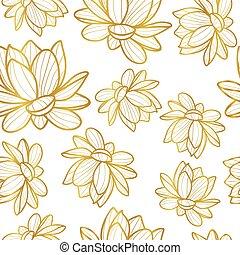 lotus, modèle, fleur, seamless, vecteur