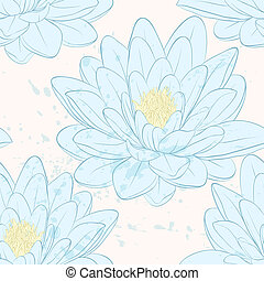 lotus, modèle, flowers., seamless