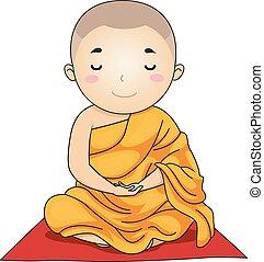 lotus, monnik, illustratie, positie, meditatie, geitje