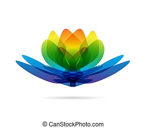 Lotus multicolored logo - Waterlily symbol, flower blossom -...