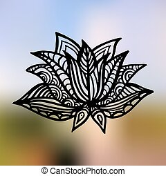 Lotus on the gradient mesh background. Vector illustration. Gradient view.