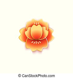 Lotus or peony flower in Chinese style cut of paper vector illustration isolated.