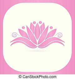 Lotus people flower framed icon logo