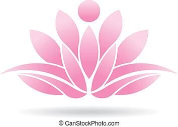 lotus, person, logo