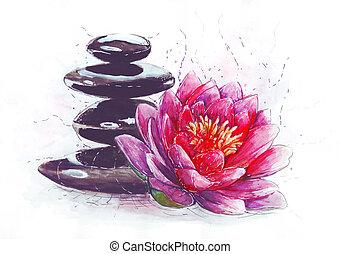 lotus, pierres
