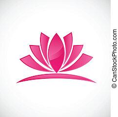 Lotus pink flower logo design vector