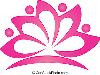 Lotus pinky flower logo vector