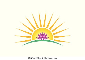 Lotus plant in sunrise logo vector image. lotus person, purity concept