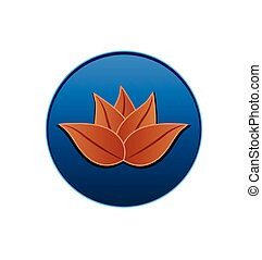 Lotus plant inside circle logo seal