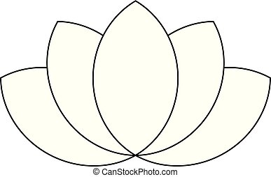 Lotus plant symbol. Spa and wellness theme design element. Flat black thin outline vector illustration