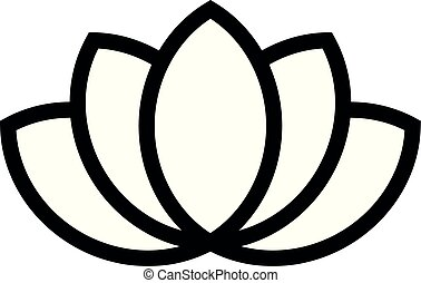 Lotus plant symbol. Spa and wellness theme design element. Flat black vector illustration