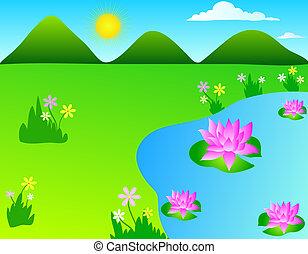 Lotus pond - Grass meadow with a lotus pond