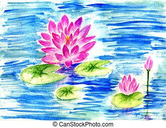 Lotus Pond Watercolor
