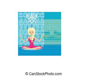 lotus positie, meisje, yoga