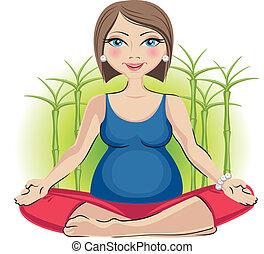 lotus positie, vrouw, zwangere