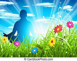 Lotus position - Man meditates on beautiful meadow. Sunny...