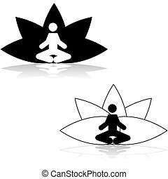 Icon illustration showing a man meditating in a lotus position in front of a stylized lotus flower