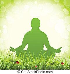 Man meditates on meadow. Vector illustration.