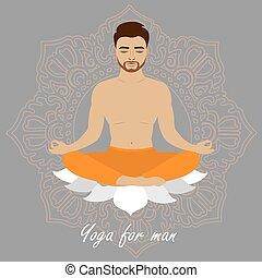 Lotus position man, yoga.