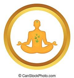 lotus position, vecteur, icône, homme