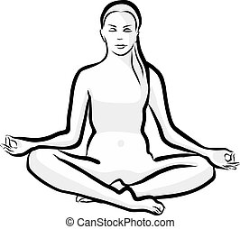 Lotus position yoga pose . Black and white hand drawn illustration. Icon sign for print and labelling.