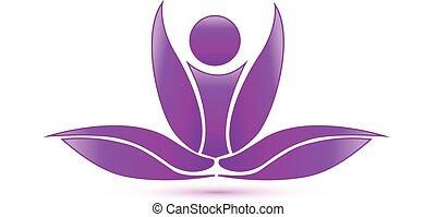 lotus, purpur, yoga, figur, logo