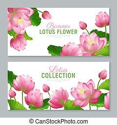 lotus, réaliste, bannières