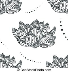 Lotus. Seamless pattern with magic flower - anti stress coloring page for adult isolated on white background. Vector illustration in zentangle style.