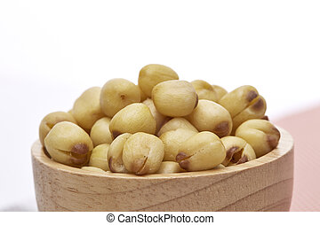 Lotus Seeds in Bowl on White Background
