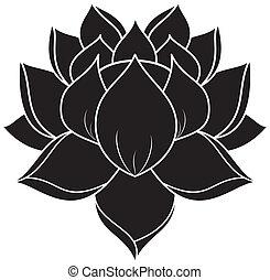 Lotus Set 023 - illustration of lotus silhouette