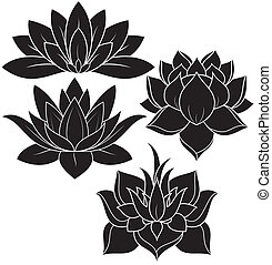 illustration of set lotus silhouette