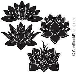 Lotus Set 2 - illustration of set lotus silhouette