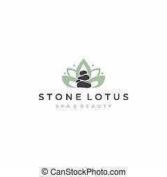 Lotus Spa Stone Logo Design Vector