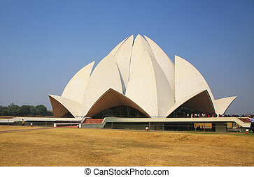 Lotus temple in New Delhi, India. it serves as the Mother ...