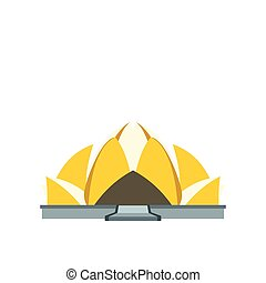 Lotus Temple, New Delhi icon in flat style isolated on white background