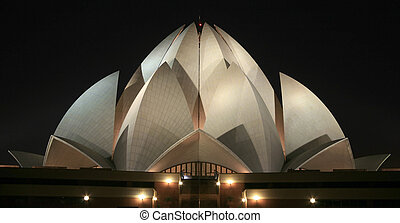 lotus temple - Bahai lotus temple at night in delhi, india
