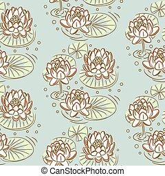 lotus, vecteur, pattern., seamless
