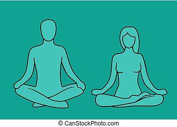 lotus, vrouw, yoga, pose., man