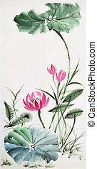 lotus, watercolor, bladeren, bloem, schilderij