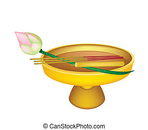 Lotus with Joss Sticks and Candle on Golden Tray