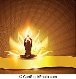 lotus, yoga, blomma, -fire