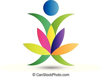 Lotus yoga figure logo vector
