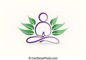 Lotus yoga man symbol id card logo