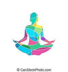 Lotus yoga pose icon. Vector abstract