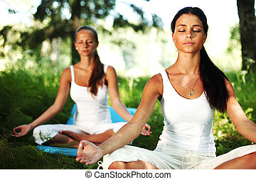 lotus yoga  - yoga woman on green grass in lotus pose