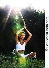 lotus, yoga, zonopkomst