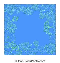 Lotuses flower with line-art frame.