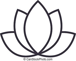 lotus,india vector line icon, sign, illustration on background, editable strokes