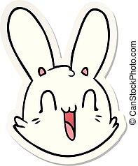 loucos, adesivo, rosto, coelhinho, caricatura, feliz